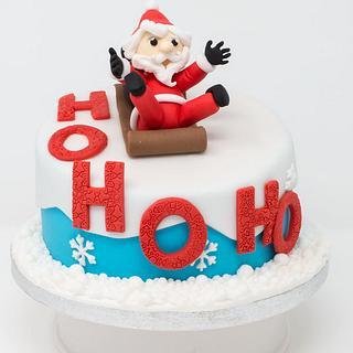 Santa Sledging Cake