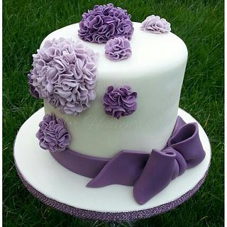 Purple Pom Poms - Cake by Bobbie-Anne Wright (For Heaven's Cake)