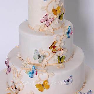 Christening cake with butterflies