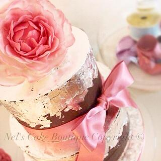 Chocolate ganache & edible silver leaf cake