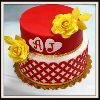 Red and white Wedding cake - Cake by Glenyfer Wilson