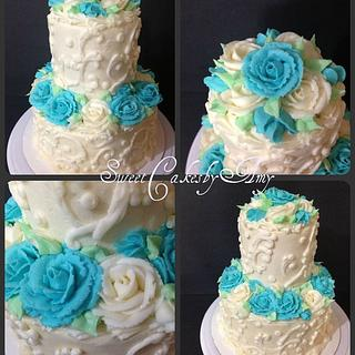 Blue and White anniversary cake