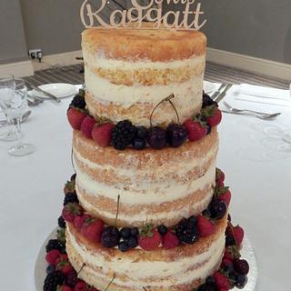 Mr & Mrs Naked Wedding Cake