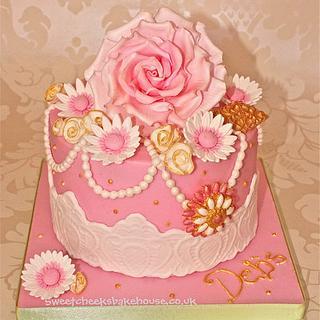 vintage chic rose cake