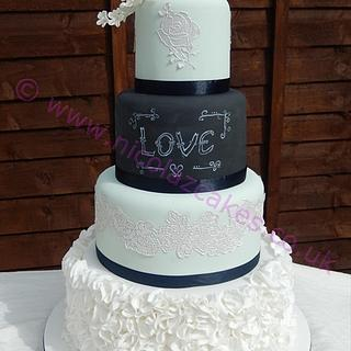 mint green and chalk board effect cake