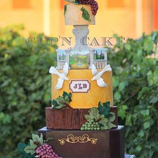 Rustic vineyard themed wedding cake for Cake central magazine