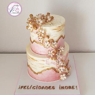 TARTA CUMPLEAÑOS FLORECITAS - Cake by Camelia