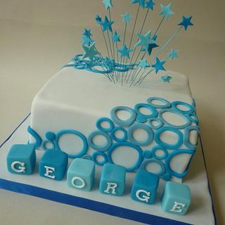 Circles and stars christening cake