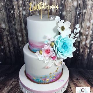 Christening cake aquarelle