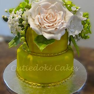 Egg-less Carob Cake with Carob Ganache frosting, filling, andPistachio Cream Filling