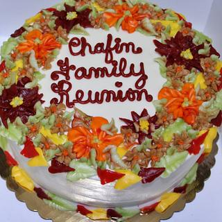 Fall buttercream flowers cake