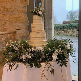 Naked wedding cake fresh foliage  - Cake by Donnajanecakes