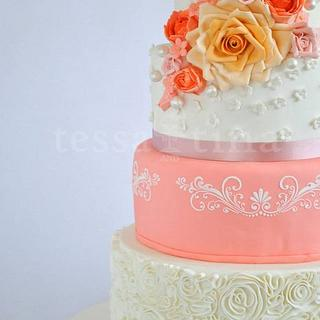 Coral, Ruffles and Roses