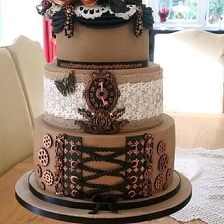 A steampunk themed wedding cake  - Cake by Julie