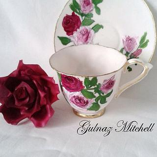 Free Hand Painted Cup and Saucer Topper