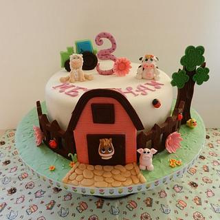 Farm cake with animals