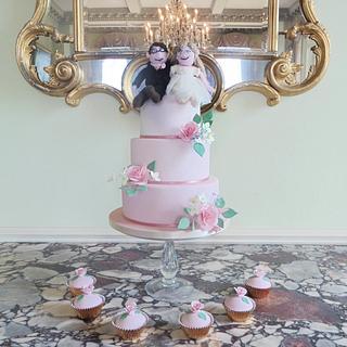 Pink Ombre Wedding Cake - Cake by Helen Alborn