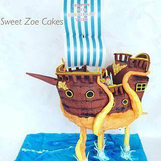 Gravity Pirate Ship Cake