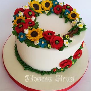 Bean paste and italian meringue buttercream flower cake