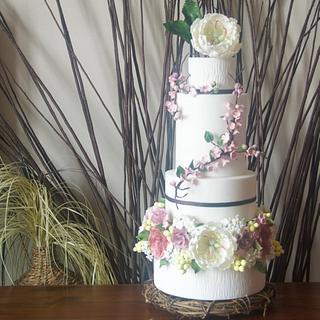 Twigs and Flowers Wedding Cake
