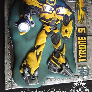 2D/3D Transformers Bumble Bee Cake - Cake by Gadget Cakes