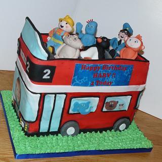Boys Character double Decker bus cake - postman pat, bob the builder, pingu - Cake by Krazy Kupcakes