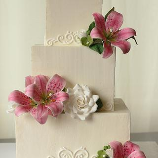 Square buttercream wedding cake