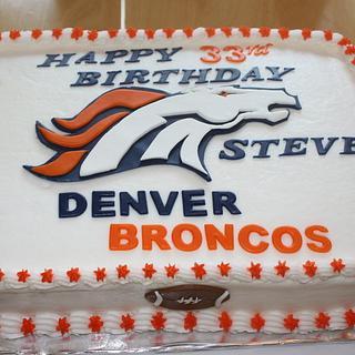 Awe Inspiring Denver Broncos Cake 2 Cakes Cakesdecor Birthday Cards Printable Trancafe Filternl