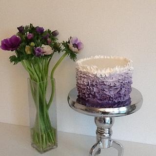 Purple ombre ruffle cake