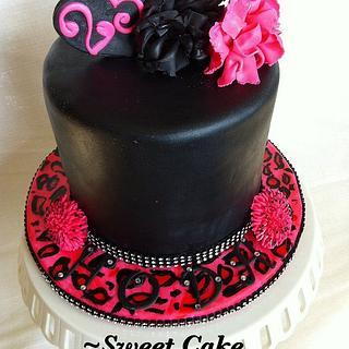 Cheetah and sugar pom poms - Cake by Heidi