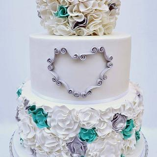 Teal & Silver Ruffle Cake - Cake by Emma