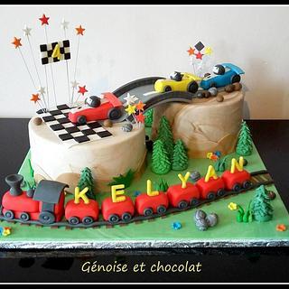 Racing and train cake