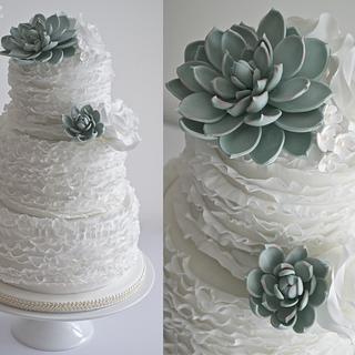 Succulent Ruffle Wedding Cake