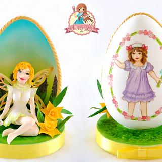 Two Side Easter Egg - A Painted Easter Collaboration  - Cake by SweetLin