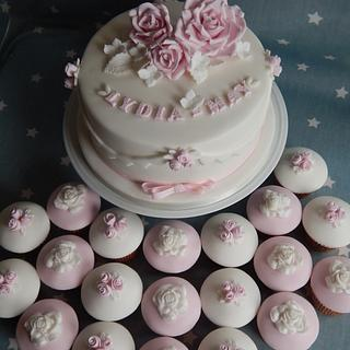 Pretty rose Christening - Cake by Elizabeth Miles Cake Design