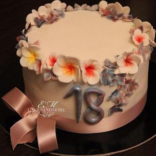 Frangipani & hydrangea cake