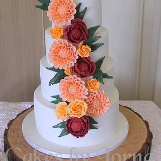 Four tier Autumn Wedding Cake