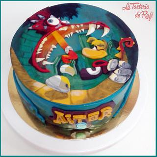 "Hand-painted ""Rayman legends"" cake"