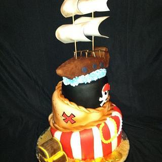 Pirate Ship Topsy Turvy Cake