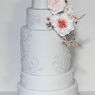 Blush & pale grey wedding cake