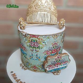 Typical spanish dress of Fallas festivities cake