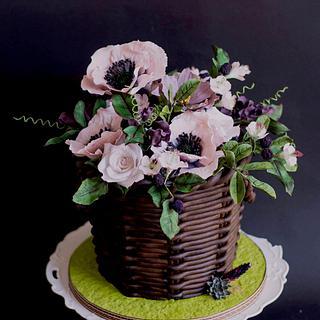 Spring flower basket cake