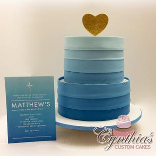 Blue Ombré Confirmation Cake