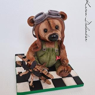 Aviation Bear - TEDDY BEAR CHALLENGE  - Cake by Karen Dodenbier