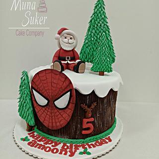 chrismas and spiderman - Cake by MunaSuker