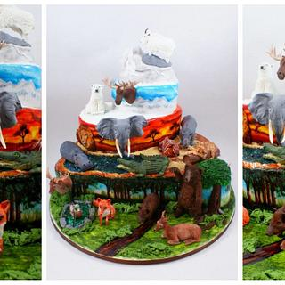 cake for hunter with animals from different continents