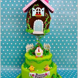 Easter Egg House Cake