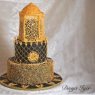 Royal icing black and gold wedding cake