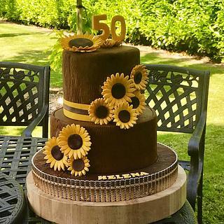 Sunflower 50th Birthday Cake