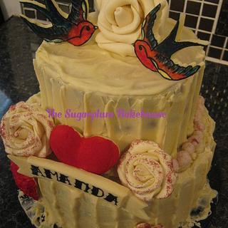 2 Tier Retro White Chocolate Cake - Cake by Sam Harrison
